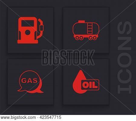 Set Oil Drop, Petrol Or Gas Station, Railway Cistern And Location And Icon. Vector