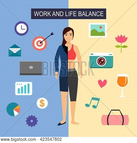 Work And Life Balance Concept Vector Illustration. Half Woman In Suit With Business Icon And Another