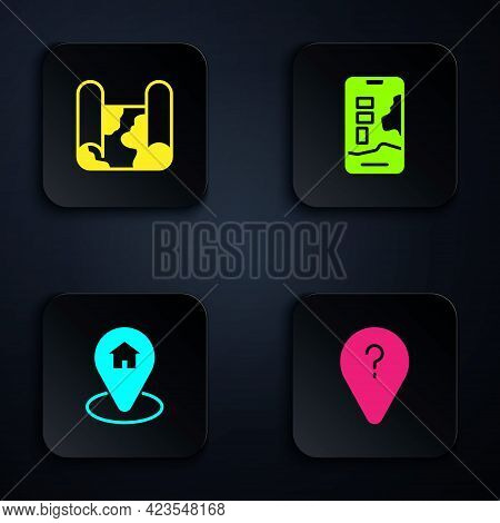 Set Unknown Route Point, Folded Map, Location With House And City Navigation. Black Square Button. V