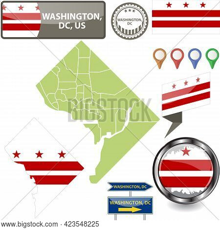 Map Of Washington, Dc In Us With Flag And Counties. Vector Image