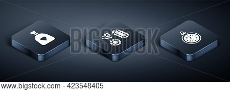 Set Isometric Bag With Gems, Pocket Watch And Gem Stone Icon. Vector
