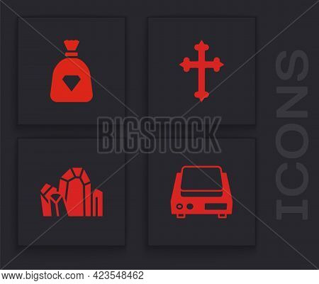 Set Electronic Jewelry Scales, Bag With Gems, Christian Cross And Gem Stone Icon. Vector