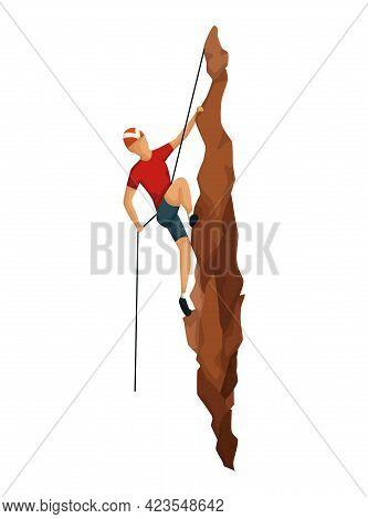 Mountain Climbing. Men Climbing On A Rock Mountain With Professional Equipment. Bouldering Sport. Ga