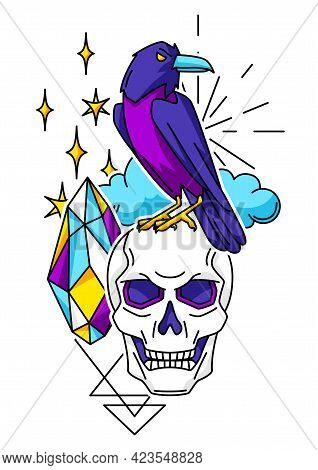 Magic Print With Mystery Items. Mystic, Alchemy, Spirituality Symbols.