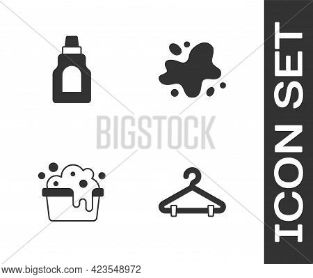 Set Hanger Wardrobe, Bottle For Cleaning Agent, Basin With Soap Suds And Water Spill Icon. Vector