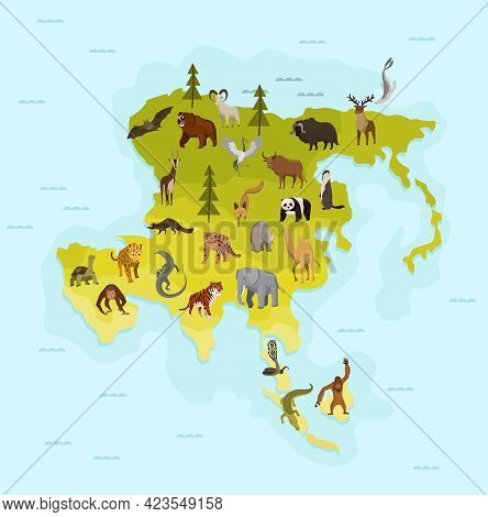 Map Of Asia With Different Animal. Funny Cartoon Banner For Children With The Continent, Ocean And L
