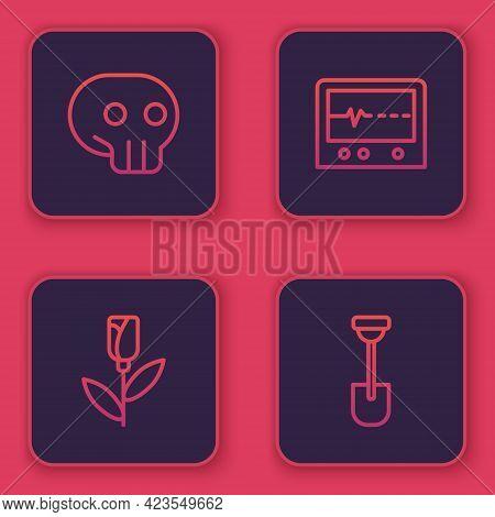 Set Line Skull, Flower Rose, Beat Dead In Monitor And Shovel. Blue Square Button. Vector