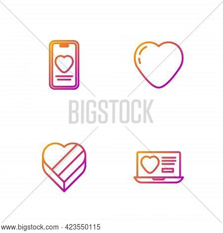 Set Line Dating App Online, Candy Heart Shaped Box, Online Dating Chat And Heart. Gradient Color Ico