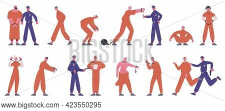 Inmates Characters. Prisoners In Prison Uniform Serving Time And Policemen In Prison Isolated Vector