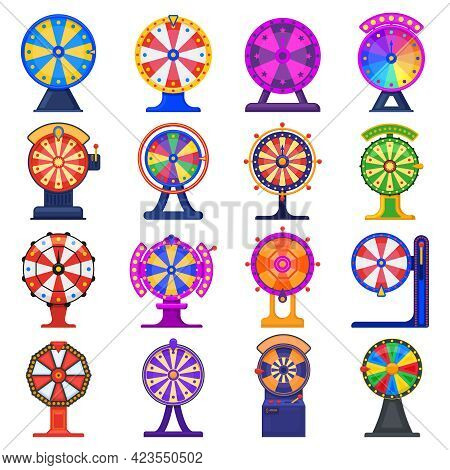 Fortune Wheel. Casino Game Jackpot Lucky Wheels, Spinning Striped Roulette Isolated Vector Illustrat