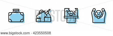 Set Line Broken Window, Briefcase And Money, Murder And Thief Surrendering Hands Up Icon. Vector