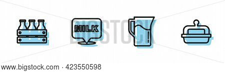 Set Line Milk Jug Or Pitcher, Bottled Milk In Wooden Box, Lettering And Butter A Butter Dish Icon. V