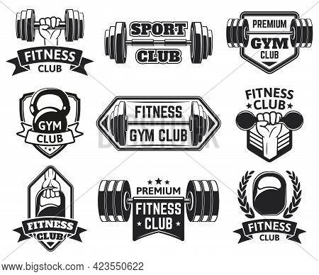 Gym Labels. Sport, Bodybuilding, Fitness Equipment Symbols, Vintage Fitness Badges Silhouette Vector