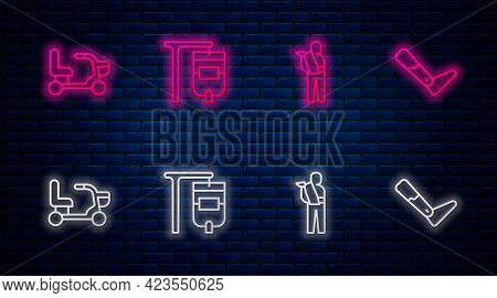 Set Line Iv Bag, Human Broken Arm, Electric Wheelchair And Prosthesis Leg. Glowing Neon Icon On Bric