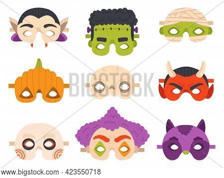 Halloween Carnival Masks. Happy Halloween Devil, Mummy, Pumpkin And Vampire Party Mask Vector Illust