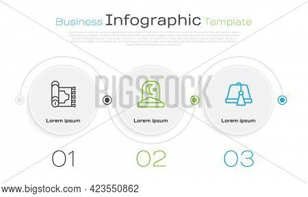 Set Line Traditional Carpet, Muslim Cemetery And Turkish Hat. Business Infographic Template. Vector