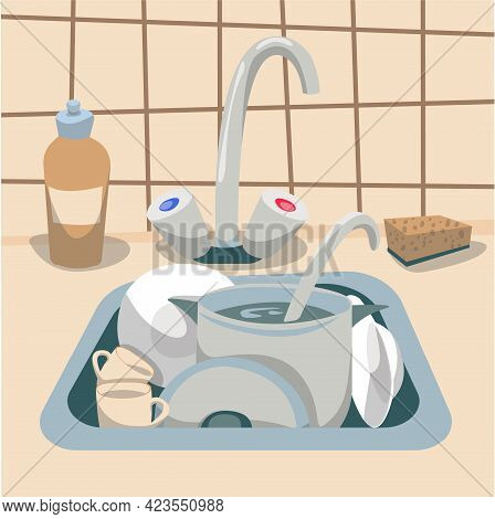Kitchen Sink With Dirty Dishes, Vector Illustration.