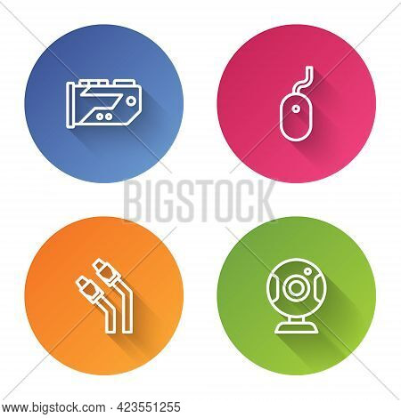 Set Line Video Graphic Card, Computer Mouse, Lan Cable Network Internet And Web Camera. Color Circle