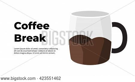 Coffee Break Infographic. 3d Abstract Cup With Americano. Creative Illustration. Vector Slide Templa