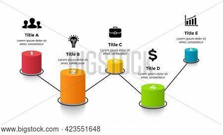 3d Roadmap. Vector Perspective Infographic. Presentation Slide Template. 5 Step Options. Percentage