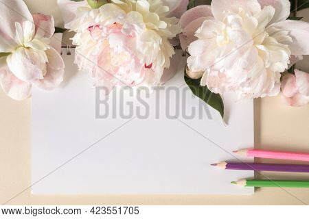 A Spring-loaded Notebook And Colored Pencils, Large Beige Flowers And Peony Buds On A Beige Backgrou