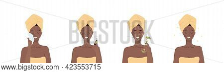 Facial Massage Steps. African Woman Do Cosmetic Spa Procedures For Face With Jade Nephrite Roller. M