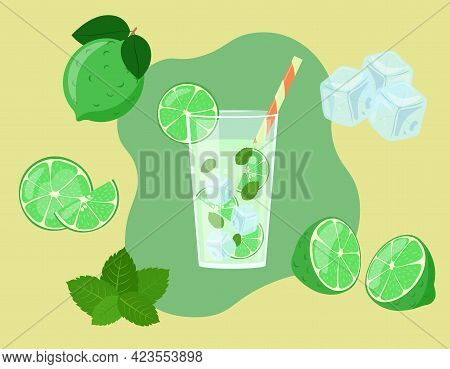 Mojito In Glass Isolated. Lime Slices In Cut. Ingredients Of Fresh Summer Drink. Vector Illustration
