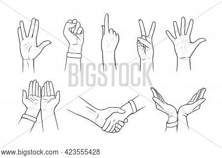Hand Gestures Of Peace, Vulcan Greeting And Salute. Handshakes, Gestures Asking For Help And Care In