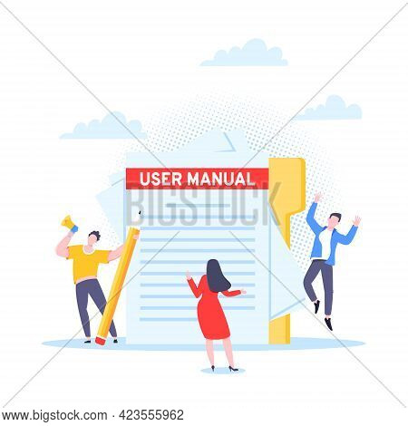 User Manual Guide Book Flat Style Design Vector Illustration. Tiny People And Giant Pencil Working T
