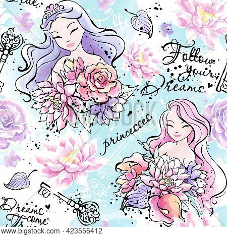 Beautiful Princess Pattern. Fashionable Ink And Watercolor Pattern For Clothes Or Fabrics.
