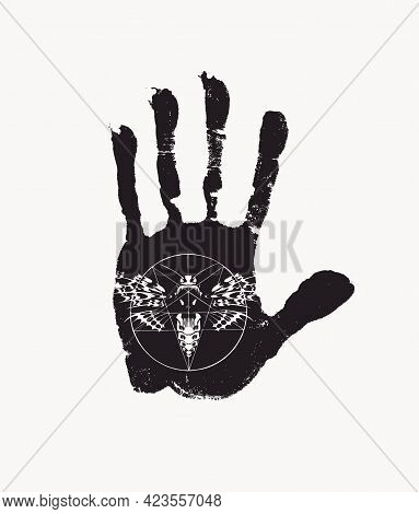 Black Print Of A Human Palm With Inverted Pentagram And Scary Butterfly Dead Head With A Skull-shape