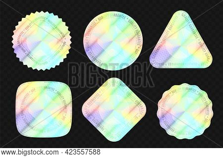 Quality Holographic Sticker For Authenticity Seal On Package. Set Of High Level Product Equivalent M