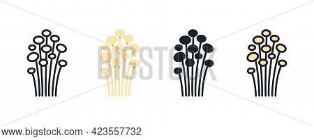 Enoki Mushroom Icon. Linear Flat Color Icons Contour Shape Outline. Thin Line. Black Vector Silhouet