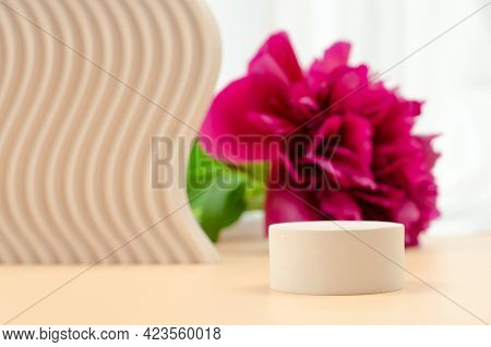 Podium For Advertising Cosmetic Or Medical Products. Round Podium On Beige Background With Beige Geo