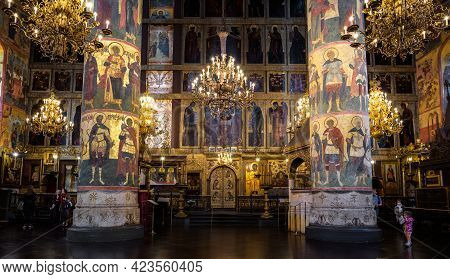 Moscow - June 2, 2021: Dormition (assumption) Cathedral In Moscow Kremlin, Russia. Beautiful Panoram