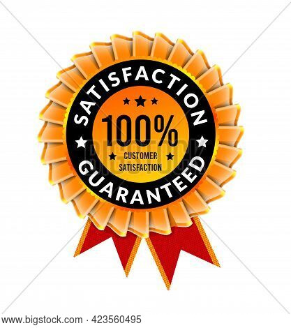 100 Percent Satisfaction Guaranteed. Badge With Ribbon Template. Vector Illustration On White Backgr