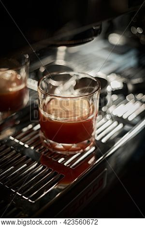 Selective Focus On Iced Americano Coffee In The Glass
