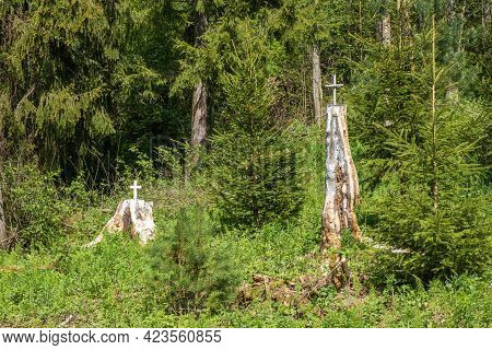 White High Stumps Decorated With A Cross On The Holy Spring Of St. Irinarch The Recluse In The Yaros