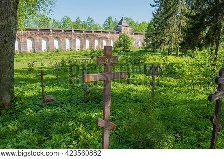 Orthodox Crosses At The Cemetery In The Borisoglebsky Monastery Yaroslavl Region On A Summer Day, Ru