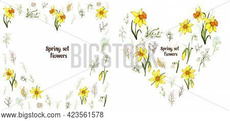 Floral Spring Set Of Daffodils In The Shape Of A Heart. Realistic, Hand-drawn Element, Bouquet. Flow