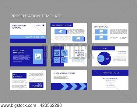 Company Investment Pitch Decks Vector Template Design. Elegant And Modern Styling To Convince Any Me