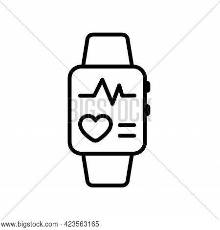 Fitness Tracker Smart Watch Vector Icon. Line Stroke Editable Smartwatch Device Icon. Outline Digita