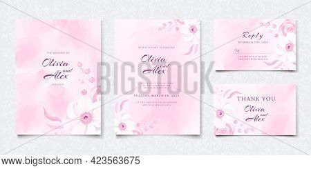 Set Of Watercolor Pink Floral Wedding Invitation Card, Save The Date, Thank You, Rsvp Template. Vect