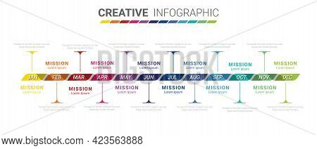 Infographic Template For 12 Months, 1 Year, Can Be Used For Business Concept With 12 Options, Steps