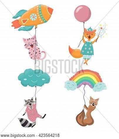 Cute Animals Fly In Balloons. Joyful Pets Characters Flies. First Pet For Children. Cute Vector Cart