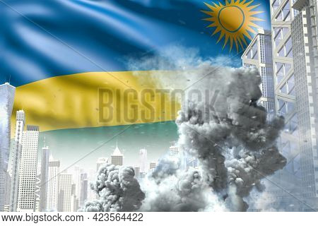 Large Smoke Column In Abstract City - Concept Of Industrial Disaster Or Terrorist Act On Rwanda Flag