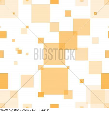 Seamless Geometric Pattern Of Squares Of Different Transparency In Orange Shades. Illustration For T