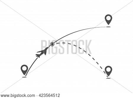 Flight Path Of The Aircraft On The Course From One Point To Another And The Dotted Line Of The Route