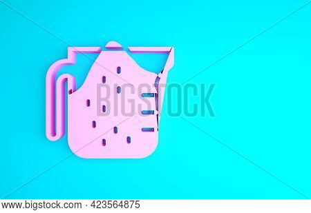 Pink Measuring Cup To Measure Dry And Liquid Food Icon Isolated On Blue Background. Plastic Graduate