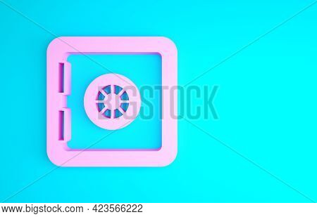Pink Safe Icon Isolated On Blue Background. The Door Safe A Bank Vault With A Combination Lock. Reli